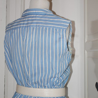 50s Dress, Full Skirt, Blue & White, Striped, Cotton, 2-Piece, Skirt Blouse, Outfit, Size M/L