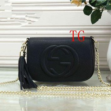 """Gucci"" Fashion Letter Logo Embossed Metal Chain Single Shoulder Messenger Bag Women Solid Color Flip Small Square Bag"