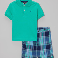 Jade Polo & Blue Plaid Shorts - Infant, Toddler & Boys | zulily