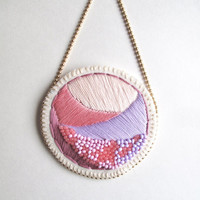 Textile necklace hand embroidered in pretty pinks and lavender with glass beads on bright cream muslin matte gold ball chain Summer fashion