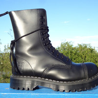 Vintage NPS Steel toe Garrison Combat Boots Made in England - size 6UK Mens, 6.5US Mens, 8US Womens