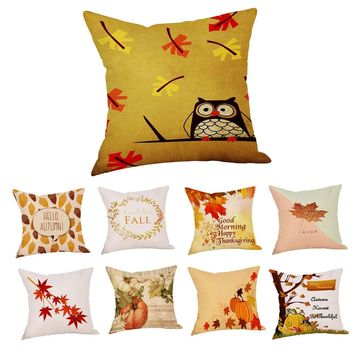 2018 Hot Sale Fashion Plush Happy Fall Thanksgiving Day Linen Turkey Merry Christmas Cushion Cover Home Decor Pillow Cover L4