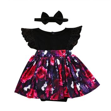 Summer Children Kids Floral Sister Dress Match Family Clothes Ruffles Lace Dresses  New Arrival Matching Clothing