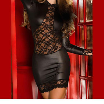 New Design  Women Sexy Black Lace Leather Patchwork Mini Dress Long Sleeve Bodycon Clubwear Erotic Nightclub Costume W14004