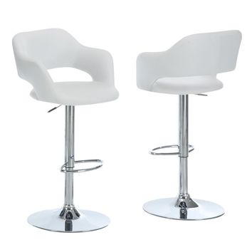 White / Chrome Metal Hydraulic Lift Barstool