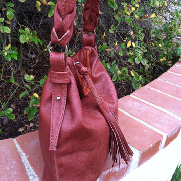 Boho chic hobo purse cognac smooth genuine leather braided bag medium retro bohemian shoulder handbag handmade handbags and bags Anabella