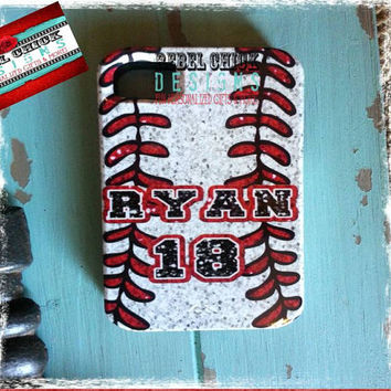 Custom Personalized Baseball iPhone 5 4s 4 Samsung Galaxy s3 Phone Case
