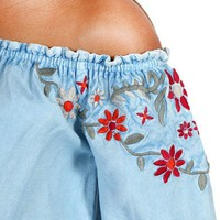 Tramp Inc Women's Floral Embroidered Off The Shoulder Top