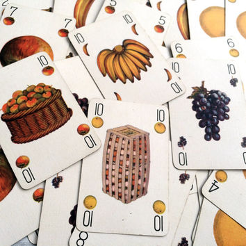 Trio. Decorative game cards with a fruit theme. Full set of 40 cards. Wonderfully illustrated ephemera to frame for yourself or as gifts.
