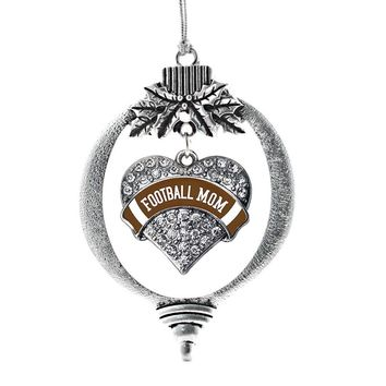 Football Mom Brown Pave Heart Charm Holiday Ornament
