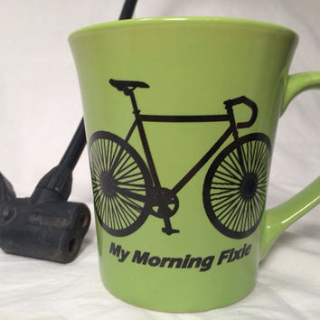 Funny green bike mug, Fixie bicycle, cycling enthusiast cyclist mug, hipster gift morning Fixie