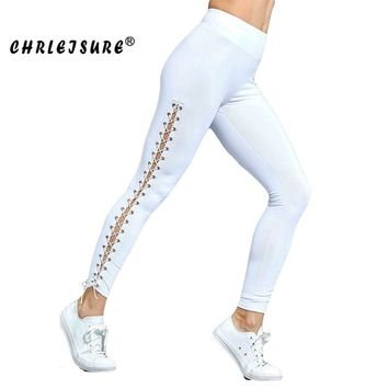 Lacing Leggings Polyester Solid Hollow High waist Ankle-length Slim Workout Legging