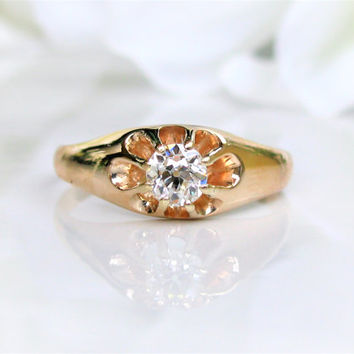 Antique Engagement Ring Belcher Buttercup Setting 0.33ct Old Mine/European Cut Diamond 14K Yellow Gold Antique Wedding Ring Size 8