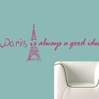 Housewares Vinyl Decal Paris Eiffel Tower Audrey Hepburn Quote Phrase Home Wall Art Decor Removable Stylish Sticker Mural Unique Design for Any Room