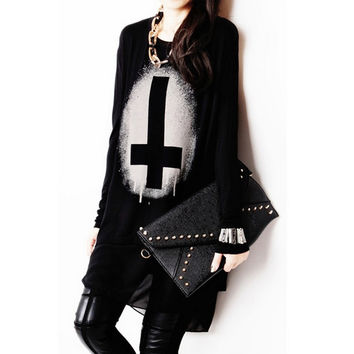 Punk Rock Long T Shirt Women Cotton Chiffon Cross Print Long Sleeve Plus Size T-shirt Black Top Autumn Winter Tee Shirt Femme