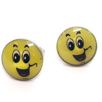 ON SALE - Smiling Emoji Faces Enamel Button Stud Earrings