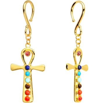 Handcrafted Gold Plated Balanced Life Chakra Ankh Ear Weights