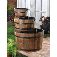 Fir Wood Apple Barrel Electric Garden Water Fountain