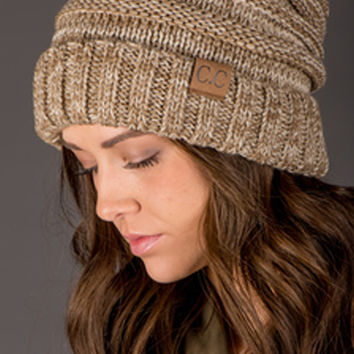CC Slouchy Luxe Knit Beanie - Brown