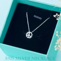 Womens 925 Sterling Silver 3D Peace Pendant Necklace Girls Superior Quality Christmas Necklace Gift 97