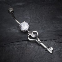 Heart Key Sparkle Belly Ring