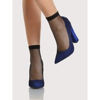 Fishnet Overlay Point Toe Heels BLUE