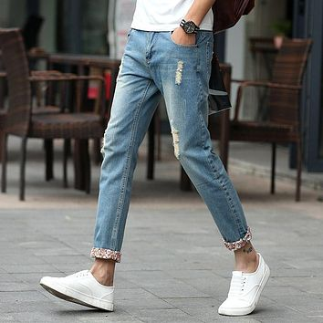 spring summer men fashion slim hole jeans young men casual Distressed jeans