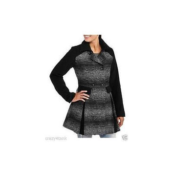 Women's Colorblock Faux Wool Swing Coat, Medium, Charcoal/Black Ombre Ib Diffus