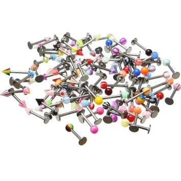 100PCS 16g 316L Surgical Steel Monroe Labret Ring Lip Chin Stud Tragus Earring Bar Body Piercing Jewelry