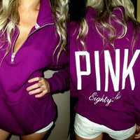 """PINK"" Victoria's Secret Pattern Letter Print Zipper V-Neck Hoodie Top Blouse Sweatshirt Pullover Sweater"