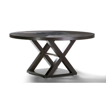 Allan Copley Designs Halifax 60 Inch Round Wood Top Dining Table in Espresso w/ Brushed Stainless Steel Accents