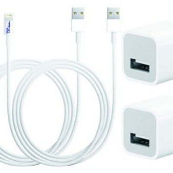 CBCell (TM) 2 x 2 Charger Set (2 X 3 Feet USB Data Cables and 2 X Wall Adapters) for Iphone 5, 5s, 6, 6 plus, 6s, 4th Gen Ipad, Ipad Air, Ipad Air 2, Ipad Mini 1/2/3.