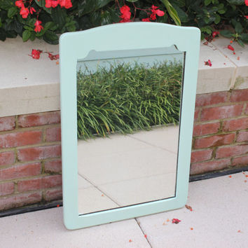 Mint green chalk paint vertical wood mirror