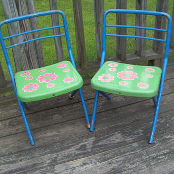 Vintage Pair of Metal Child Size Folding Chairs...Flower Power...Pink Daisy...Seventies...Groovy...Green Blue...Blazon Inc...Home School
