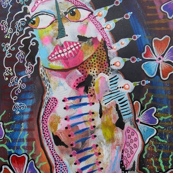 Outsider Art Painting Figurative Colorful Surreal Figure Alien Lowbrow Cute Ugly Monster