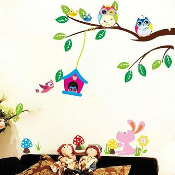 Free shipping 30*90 CM Large 1 Piece Diy Cute Owl Wall Sticker Children Room Removable Wall Poster ZY1017