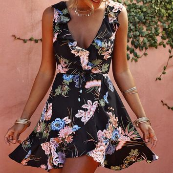 Show Me Around Floral Pattern Sleeveless Ruffle Cross Wrap V Neck Casual Mini Dress