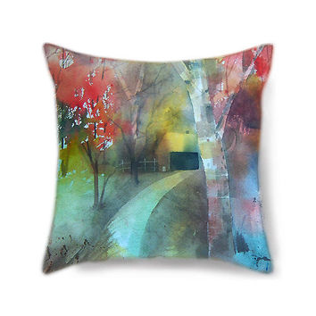 Home decor pillow cover, home decor, painted pillow, decorative pillow for bed, throw pillow, art pillow, landscape art, lake decor pillow