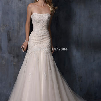Luxury Strapless Ivory Tulle Winter Wedding Dresses 2015 Lace Up Back Bridal Gowns High Quality