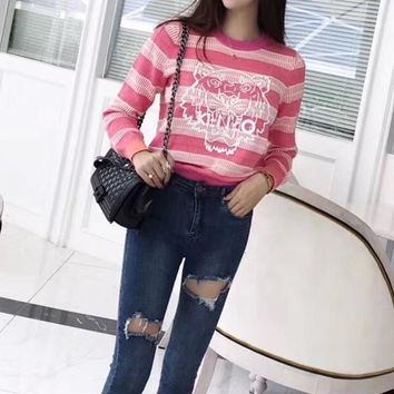 """Kenzo"" Women Casual Multicolor Stripe Tiger Head Print Long Sleeve Knitwear Sweater Tops"