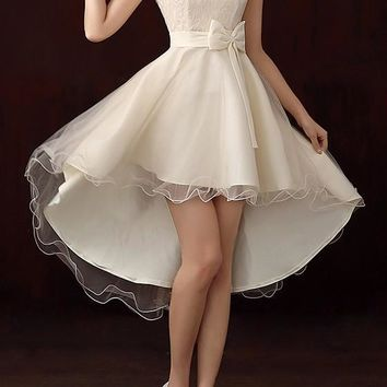Patchwork Irregular Grenadine Bow Tie Back High-low Bridemaid Prom Mini Dress
