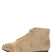 Diva Lounge Mason 20 Sand Suede Studded Cap-Toe Oxford Booties - $29.00