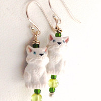 White Kitten Cat Earrings - Peridot - Sterling Silver earwires - Kid's Girl's Children's Earrings - Green White - Kitty - dangle - beaded