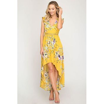 Ruffle Sleeve High Low Dress - Mustard