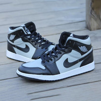 Nike Air Jordan Retro 1 High Tops Contrast Sports shoes Grey Black hook G-CSXY