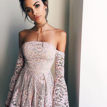 Baby Pink Long Sleeve Lace Short Homecoming Dress