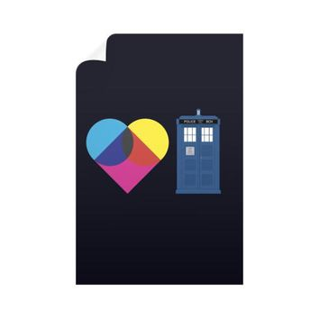I Heart Tardis Vertical Wall Decals
