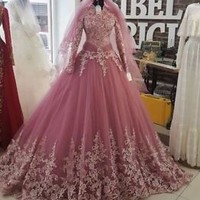 Long Sleeves Modest Muslim Wedding Dresses with Lace