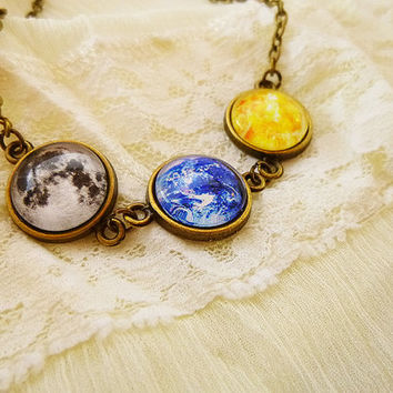 "Planet Necklace ""Night and Day"", Space Jewelry, Universe Jewelry, Earth Full Moon and Sun, Vintage Jewelry, Solar System, Stars, Sky, Galaxy"