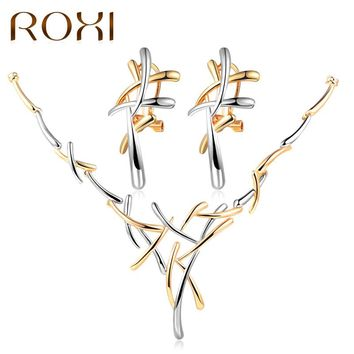 ROXI Silver/Gold/Rose Color Metallic Earrings Statement Necklace Cross Jewelry Set for Women Punk Style Female Party Jewelry Set